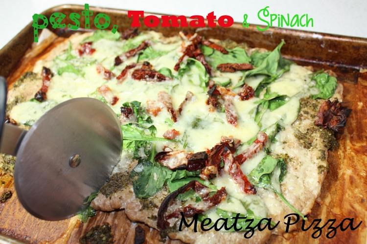 Pesto, Tomato & Spinach Meatza Pizza - BusyButHealthy.com